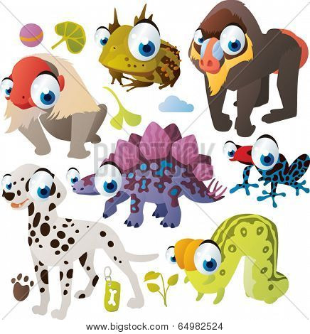 Vector animal set: Uakari, Horned Frog, Gamadril, Stegosaurus, Tree-frog, Dalmatian, Inchworm