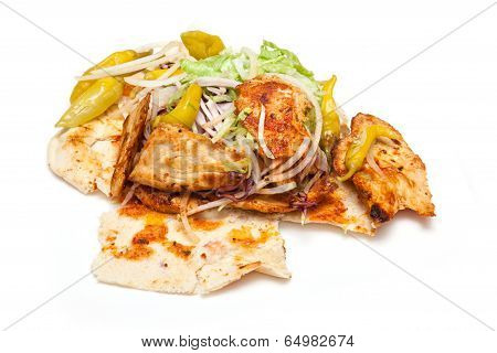 Chicken Kebab Isolated On A White Studio Background.