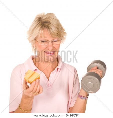 Mature Older Lady Choosing Diet Or Exercise