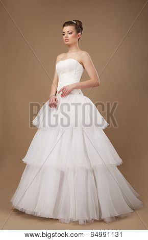 Elegance. Young Lady In Long Classic Bridal Dress