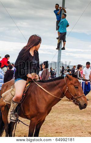 Horseback Girl In Shorts, Nadaam Horse Race