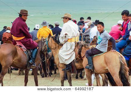 Horseback Spectators In Traditional Costume, Nadaam Horse Race