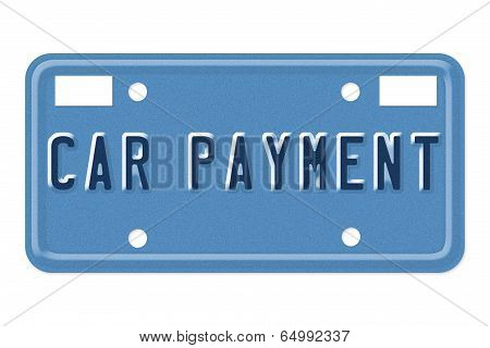 Car Payment Vanity Plate