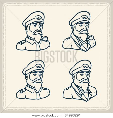 Illustrated bearded boat captain icons