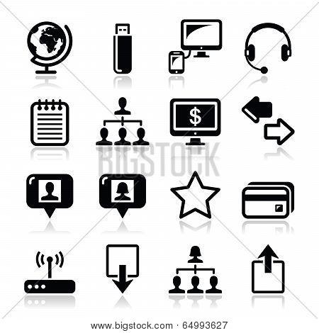 Web, internet simple black vector icons set