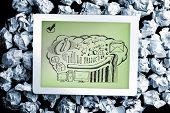Business brainstorm doodle on digital tablet on crumpled paper poster