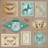 Vector Set: Vintage Post Stamps with Calligraphic Hand drawn Butterflies - for design and scrapbook poster