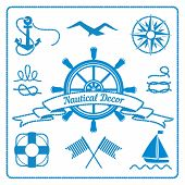 nautical badges and decor marine elements with steering wheel, rope and lifeline, vector eps10 illustration poster