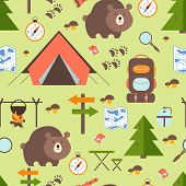 Hike in the woods seamless pattern depicting a tent  bear  backpack  rucksack  trees  forest   signpost  trail  map  compass  direction  campfire  mushrooms magnifying glass and exploring nature poster