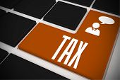 The word tax and businessman and speech bubble on black keyboard with orange key poster