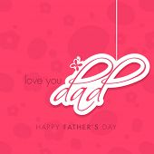 Stylish sticky with hanging text dad on pink background for Happy Father's Day celebrations  poster