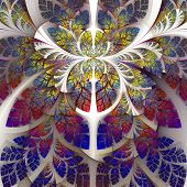 Fabulous fractal pattern in purple blue and yellow. Collection - tree foliage. Computer generated graphics. poster