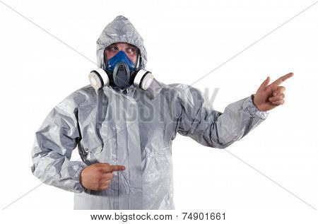 A pest control worker wearing a mask, hood, protective suit and dual air filters to help exterminate rats and other vermin.