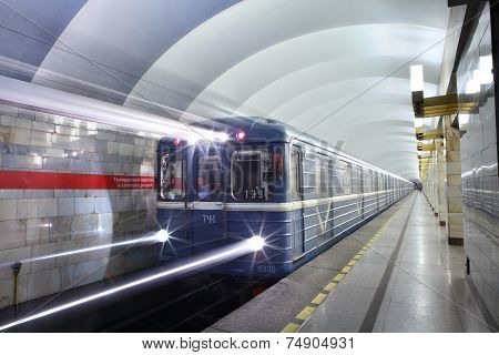 Underground Subway Station In The Russian City Of St. Petersburg.