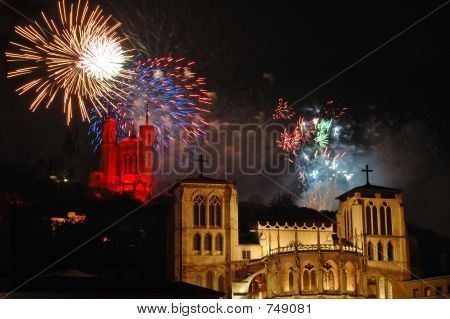 National Day Fireworks in Lyon (France)