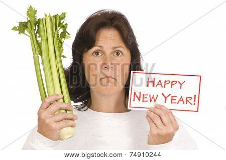 Woman Showing New Year's Resolution