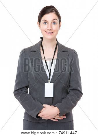 Businesswoman with namebadge