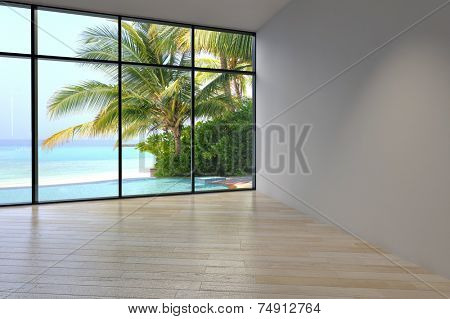 3D Rendering of Simple Architectural Empty Room Design with Transparent Glass Walls Style.
