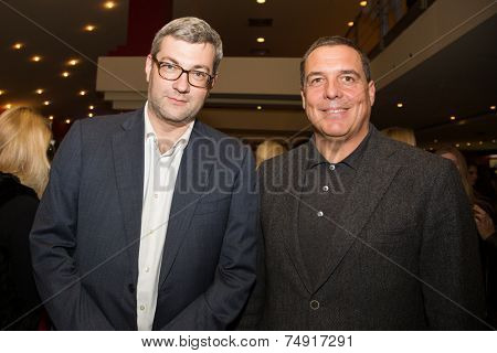 MOSCOW - OCTOBER,8 : V. Ruga, Aleksandr Lubimov . Premiere of the movie Weekend, October,8, 2014 at Octyabr Cinema in Moscow, Russia