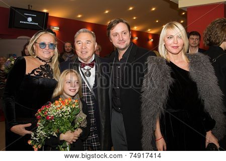MOSCOW - OCTOBER,7 : T. Mikhalkova, S, Zaicev, A. Mikhalkov, D. Mikhalkova. Premiere of the movie Solnechny Udar, October,7 , 2014 at Octyabr Cinema in Moscow, Russia