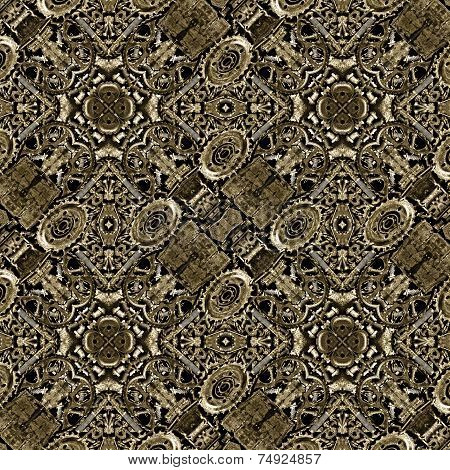 Digital photo collage and manipulation technique steampunk style background pattern in high contrast and brown tones. poster