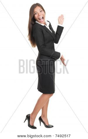 Cheerful Woman Presenting And Showing Copy Space
