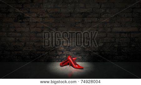 shoes and bricks wall