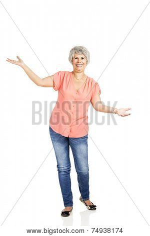 Portrait of a happy old woman with both arms open, with copyspace for the designer