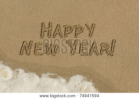 Sand Writing - Happy New Year