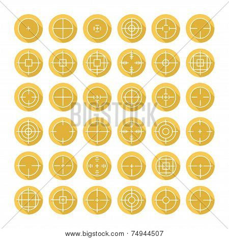 Set of different flat vector crosshair sign icons with long shadow. Line simple symbols. Target aim symbol. Circles and rounded squares buttons. poster