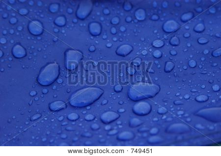 Raindrops on the blue tent poster