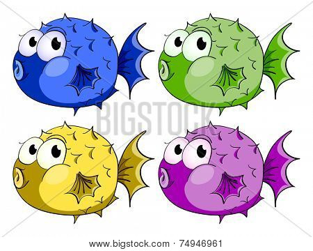 illustration of different color bubblefish