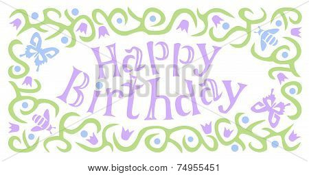 Happy Birthday in Floral Border