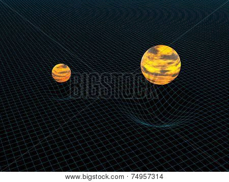 Model Of Two Objects And Their Gravitation