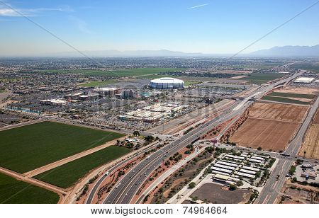 Farming and Football mixed use facility in Glendale Arizona from above poster