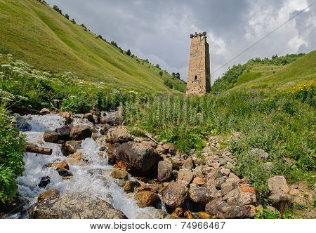 Old lonely tower in Georgia - Caucasus mountains