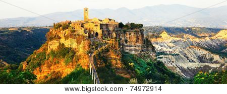 panorama of Civita di Bagnoregio - ghost medieval town, Italy