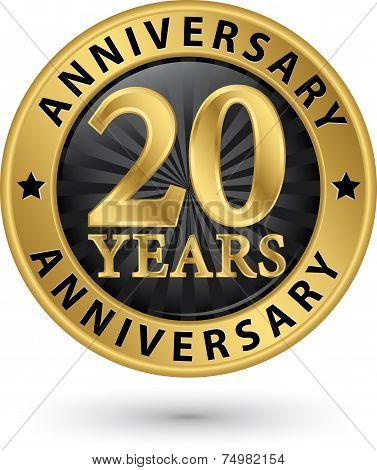 20 Years Anniversary Gold Label, Vector Illustration