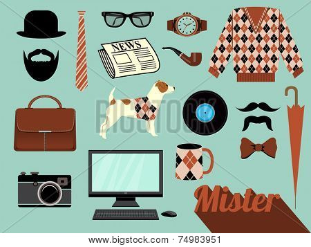 Mister - Design elements and clip art related to men, including accessories, such as glasses, wristwatch, tie and hand bag, favorite mug, sweater, mustache and camera