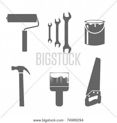 House remodel tools icons set. Saw paint brush hummer poster