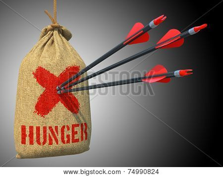 Hunger - Three Arrows Hit in Red Target on a Hanging Sack on Gray Bokeh Background. poster