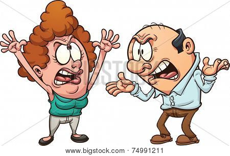 Middle aged couple arguing. Vector clip art illustration with simple gradients. Each on a separate layer.