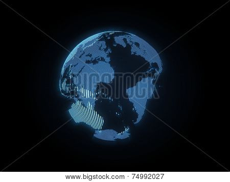 The hologram of the earth on black background poster