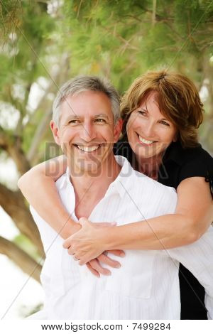 Beautiful mature couple having fun