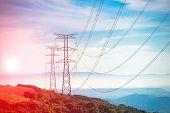 Electricity Pylon - UK standard overhead power line transmission tower poster