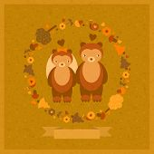vector wedding amusing card with bears and decorative round floral frame poster