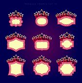 Retro illuminated movie marquee vector set 10. Simple neat flat style poster