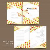 colorful modern mosaic style half fold brochure template poster