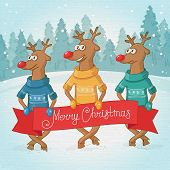 three deer on the background. Winter forest landscape. Postcard Merry Christmas. Vector poster