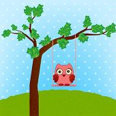 a cute owl on a swing vector poster